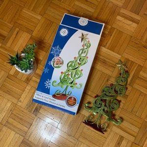 NEW MINI CHRISTMAS TREE GLITTER PHOTO HOLDER STAND